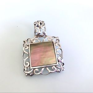 Mother of Pearl Pink Sterling Swirls Pendant